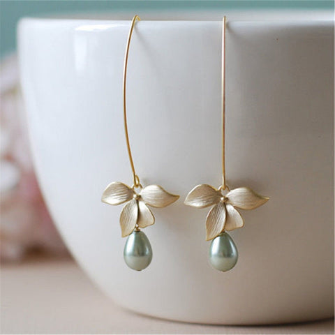 1 Pair Flower orchid imitation green pearl crochet hook dangling female fashion bohemian style gold dangle piercing jewelry