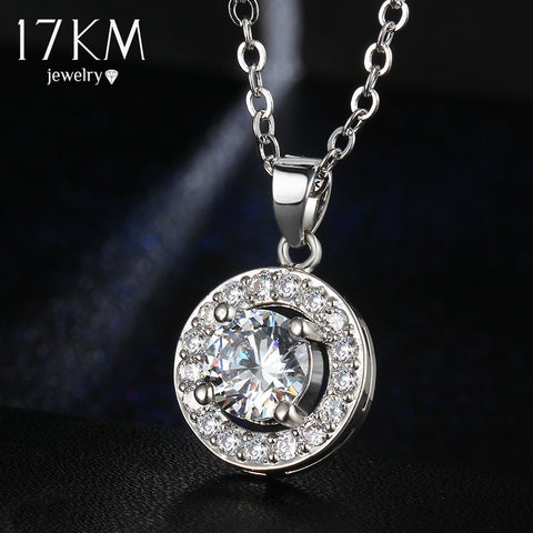 17KM 2016 New Fashion Silver Color Zircon Crystal Pendant Gold Color Chain Necklace for Women Girls Party Wedding Jewelry