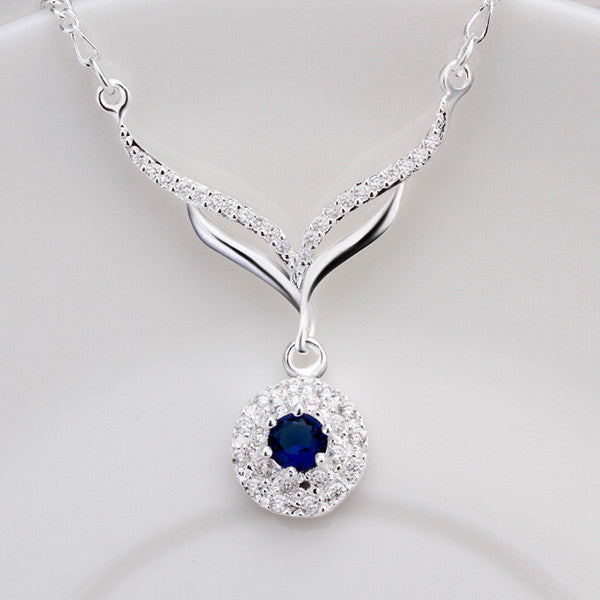 925 sterling silver round blue stone crystal necklace browista jewelry 925 sterling silver round blue stone crystal necklace aloadofball Image collections