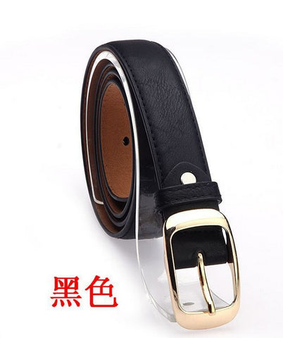 Women Fashion Belts Cinturones Mujer  Ladies Faux Leather Metal Buckle Straps Girls Fashion Accessories