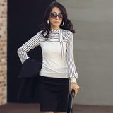 Plus Size S-4XL 2017 Hot Sale OL Women Blouse Shirt Spring Fashion Black White Stripe Bowknot Tops Long Sleeve Blusas Femininas