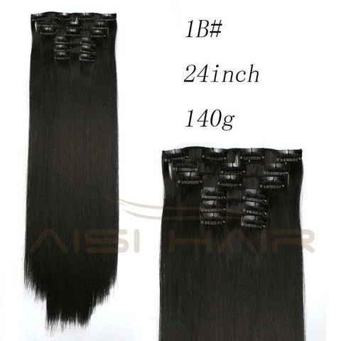 "Synthetic Hair with Clips 16 Clip in Hair Extensions False Hair Hairpieces Synthetic 23"" Long Straight Apply Hairpiece"