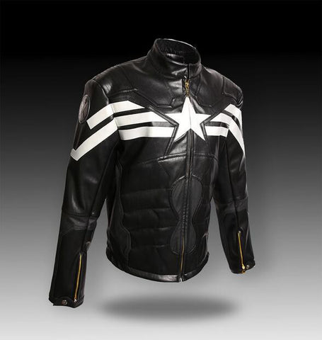 HOT Captain America Cosplay Evans Leather Winter Soldier Synthetic Leather men's Jacket