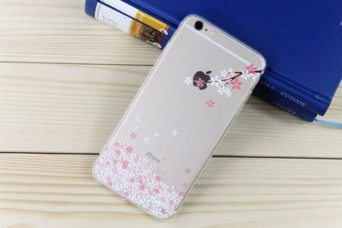 Cherry blossoms Cat Print Soft TPU Silicon rubber Case For Apple iPhone 6 6S Transparent Back Cover Accessories K1201