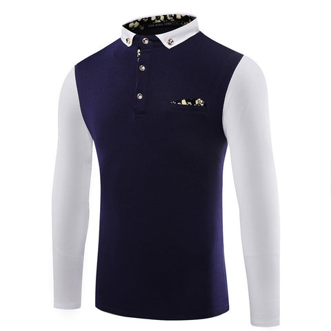 Newest Men's T Shirts  High Quality  Decorative Pocket Turn-down Collar Long Sleeve Slim Polo shirt Men