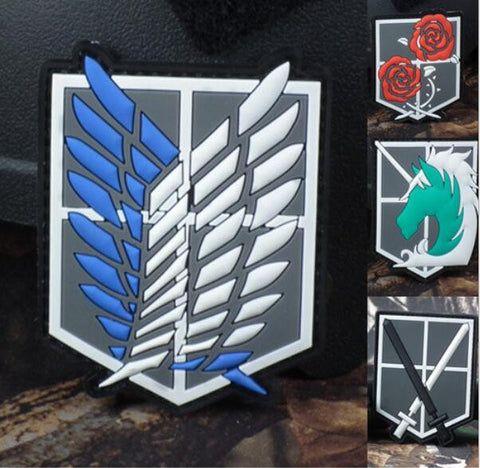 Hot New Attack on Titan Survey Corps Wings of Liberty Patch 3D PVC Logo Velcro Magic Tape Armband Arm Badge No-Wash Wholesale