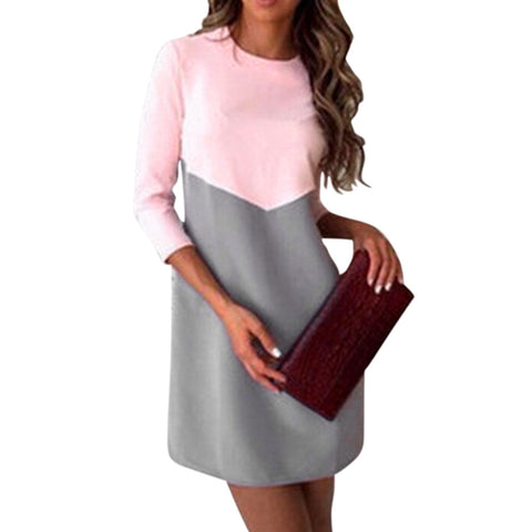 Patchwork Elegant Office Dress Women Spring Fashion Casual There Quarter Sleeve O neck OL Tunic Mini Dresses Ladies robe femme