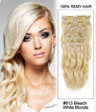 Aliexpress UK Wet and Wavy Human Hair  Clip in Human Hair Extensions 20inch 7pcs 70g#613 Bleach White Blonde