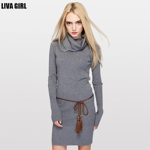 British Style Pure Color Warm Sweater Woman Turtleneck Long Knitted Sweater and Pullovers Slim Fit Design