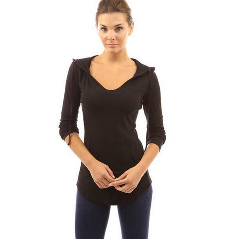 High Quality Women T-shirt Long Sleeve V-neck Pullovers With Pocket Casual Slim Fit Solid Long Tops Feminina Tees