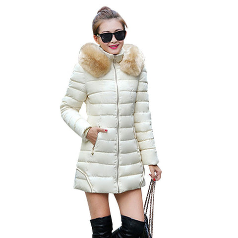 New Female Hooded Padded Overcoat  Winter Fashion Solid Wadded Coat Thick Warm Women Jacket Long Down Cotton Parkas