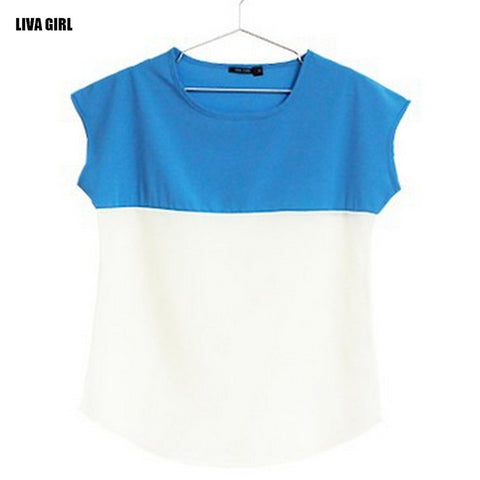 Women Summer T-shirts Loose Plus Size Chiffon Shirts Casual Slim Fit Short Sleeve O-neck Tops