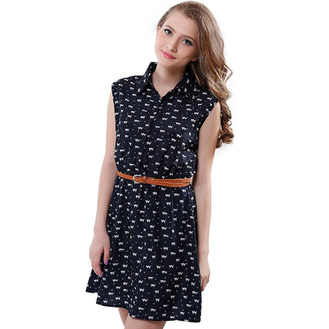 New Fashion Cat Footprints Women Dresses With Belt Brief A-line Mini Dress Sleeveless Femininas Summer Clothing