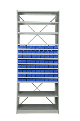 Front View of VISIPLAS BS219 Steel Shelving Kit with 14 Shelves and 72 x AT40 Parts Trays