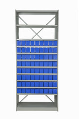 Front View of VISIPLAS BS227 Steel Shelving Kit with 12 Shelves and 72 x AT41 Parts Trays