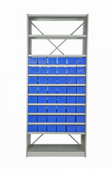 Front View of VISIPLAS BS237 Steel Shelving Kit with 12 Shelves and 48 x AT42 Parts Trays