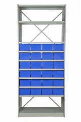 Front View of VISIPLAS BS245 Steel Shelving Kit with 10 Shelves and 24 x AT43 Parts Trays