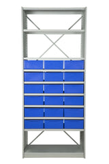 Front View of VISIPLAS BS255 Steel Shelving Kit with 10 Shelves and 18 x AT44 Parts Trays