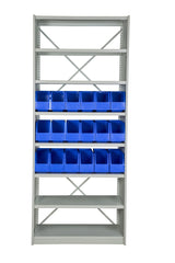 Front View of VISIPLAS BS263 Steel Shelving Kit with 8 Shelves and 18 x AP42 Picking Bins
