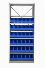 Front View of VISIPLAS BS264 Steel Shelving Kit with 8 Shelves and 36 x AP42 Picking Bins