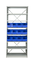 Front View of VISIPLAS BS273 Steel Shelving Kit with 8 Shelves and 12 x AP43 Picking Bins