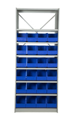 Front View of VISIPLAS BS274 Steel Shelving Kit with 8 Shelves and 24 x AP43 Picking Bins