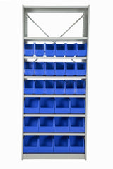 Front View of VISIPLAS BS283 Steel Shelving Kit with 8 Shelves, 18xAP42 and 12xAP43 Picking Bins