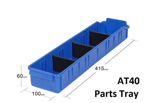 AT40 VISIPLAS Parts Trays Showing Nine Trays on 900mm Wide x 400mm Deep Shelf