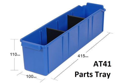AT41 VISIPLAS Parts Trays Showing Nine Trays on 900mm Wide x 400mm Deep Shelf