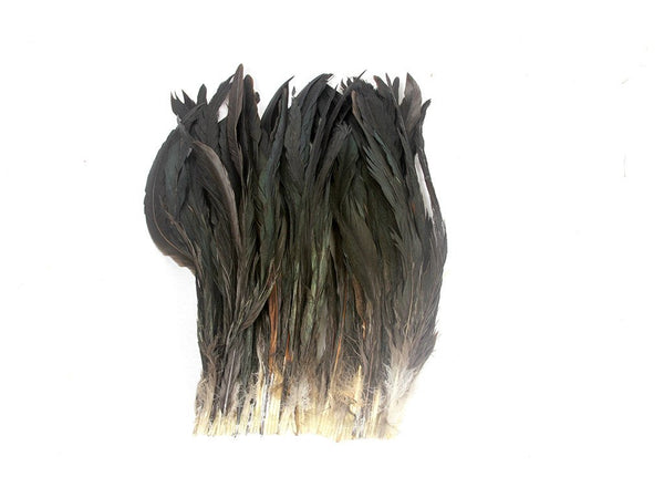 Coque Black Iridescent Natural Strung Feather Fringe - FancyFeather.com