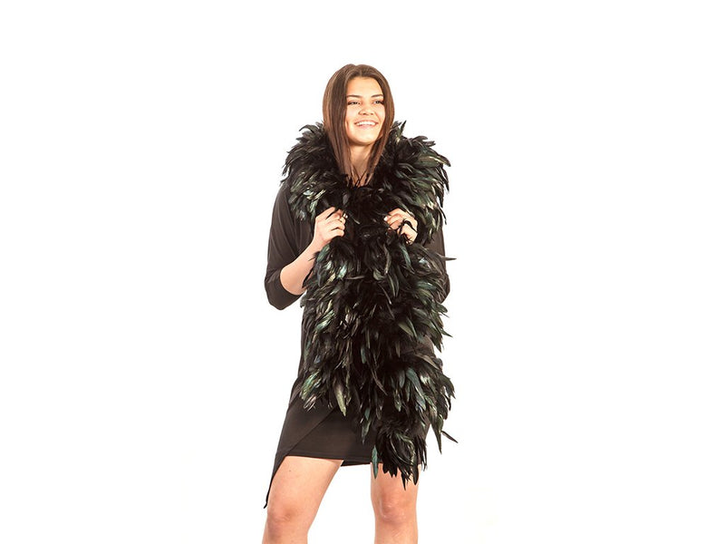 black rooster feather boas | coque boas | natural black - FancyFeather.com