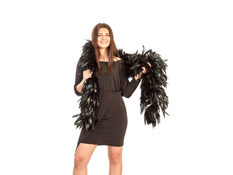 Feather Boa Black Iridescent Coque - FancyFeather.com