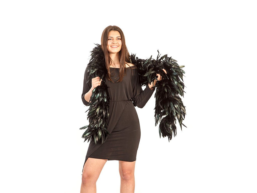 Feather Boas | Black coque schlappen rooster feathers natural - FancyFeather.com