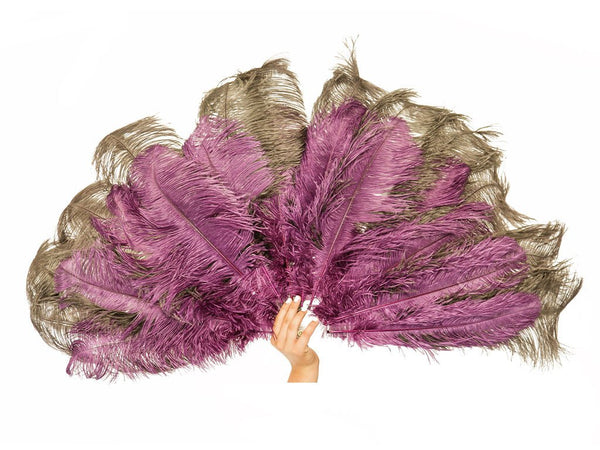 Deluxe Burlesque Fan Double Layer | Ostrich Feather Fan - FancyFeather.com