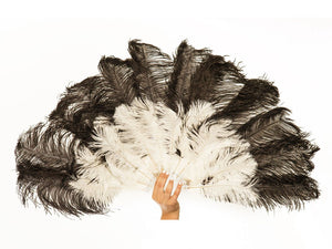 Economy Burlesque Fan Double Layer | Ostrich Feather Fan - FancyFeather.com