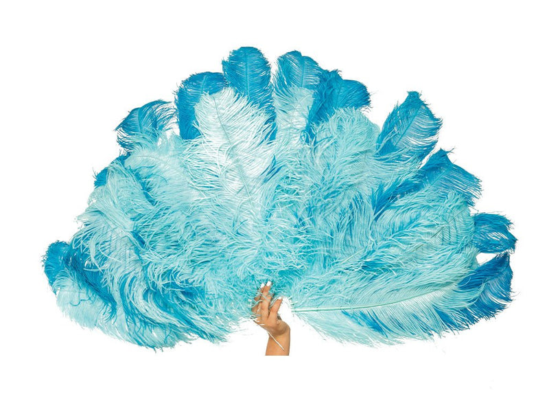 Glamour Burlesque Fan Double Layer | Ostrich Feather Fan - FancyFeather.com