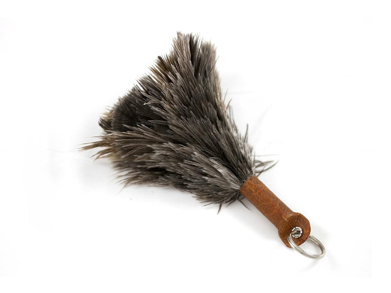 Ostrich Feather Keychain (Natural Grey)