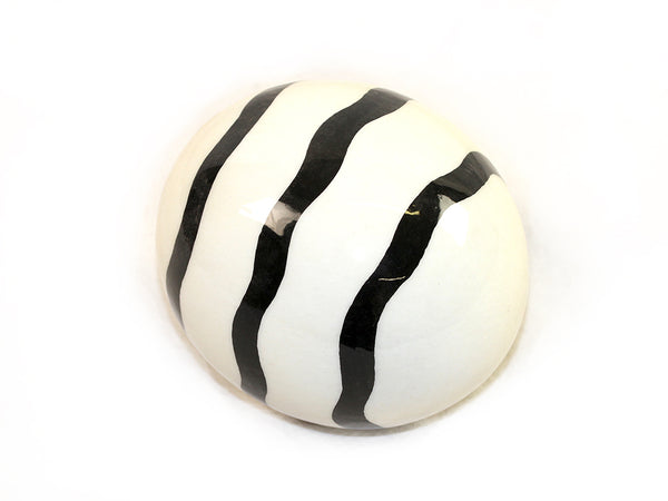 Decoupage Ostrich Egg Shell (Black Curly Stripes)