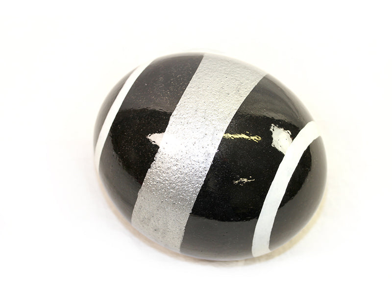 Decoupage Ostrich Egg Shell (Silver Stripes)