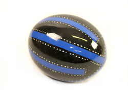 Decoupage Ostrich Egg Shell (Blue Stripes)