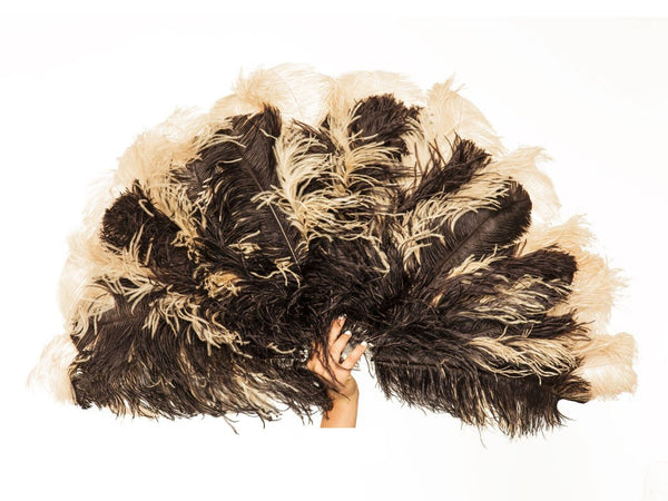 Ostrich Feather Fan | Romance Burlesque Fan Double Layer - FancyFeather.com