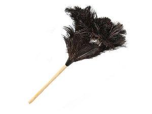 Ostrich Feather Dusters Black with wooden handle - FancyFeather.com