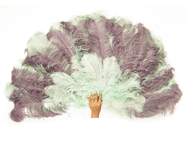 Ostrich Feather Fan | Ultimate Burlesque Fan Triple Layer - FancyFeather.com