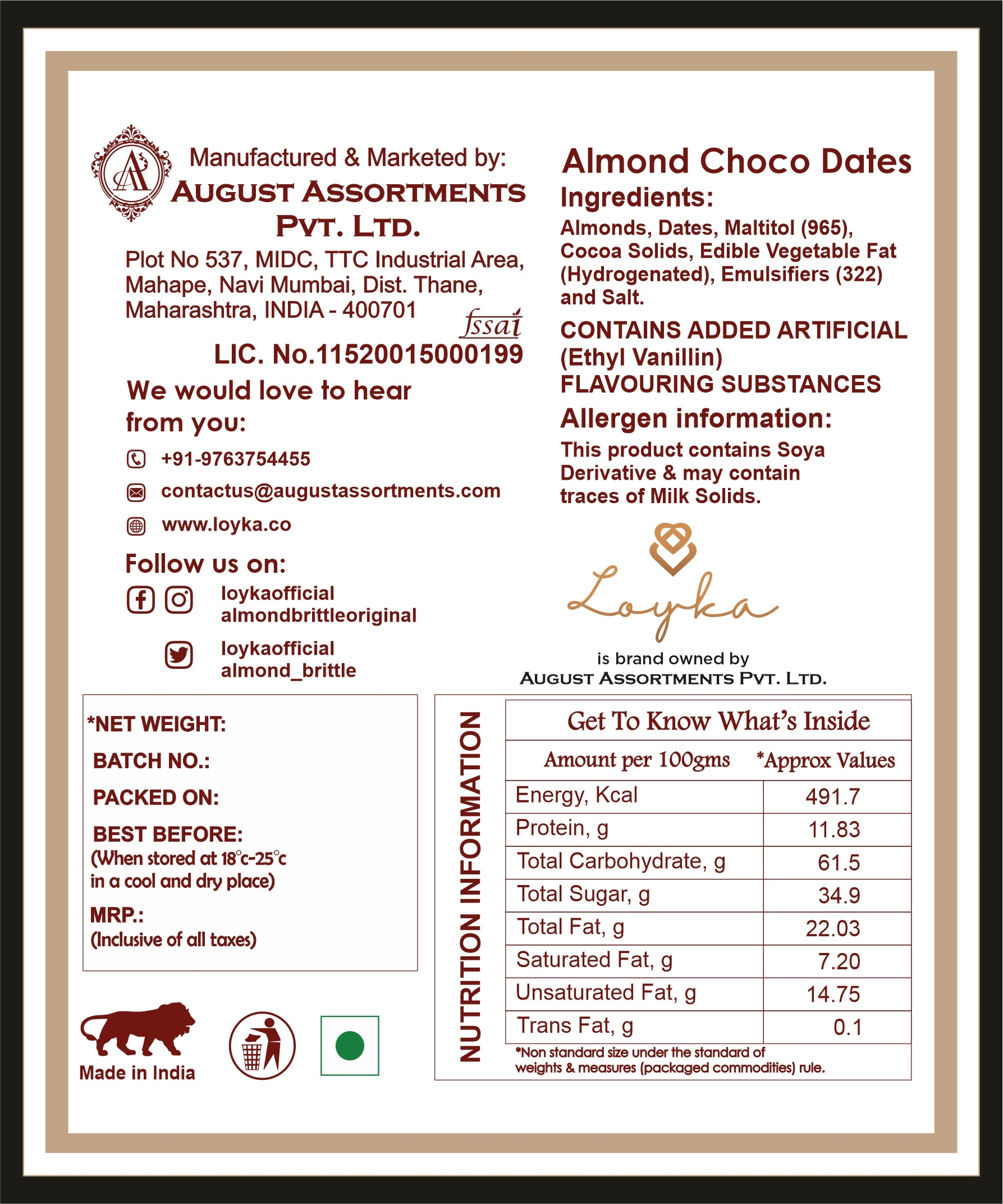 Loyka Almond Crunchy Chocolate Dates (No added sugar) Value for Money Pack - 300 grams