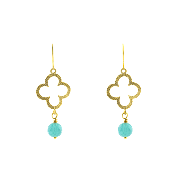 Aqua clover earrings