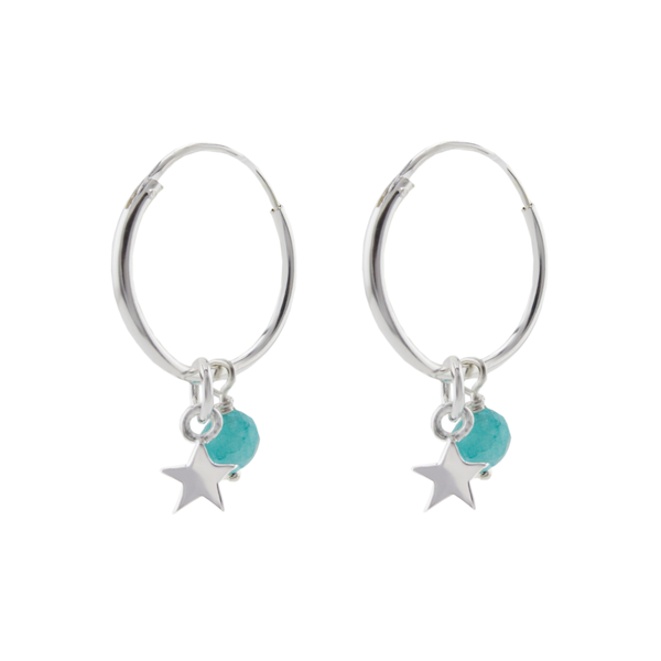 Sterling star small hoops
