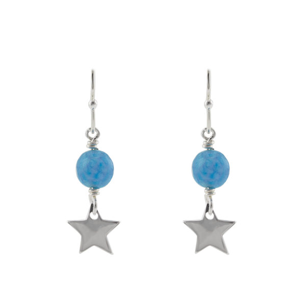 Blue sterling silver star earrings