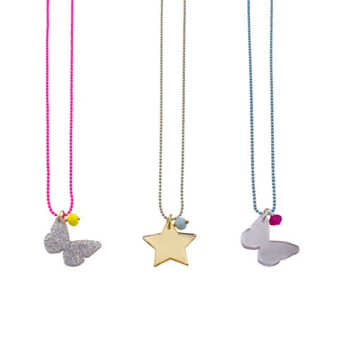Butterfly and star pendants