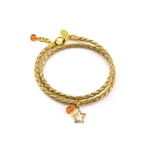 Gold leather double star bracelet