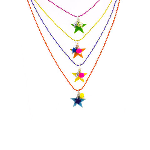 Enamel star necklace in a candy